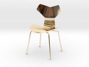 Grand Prix Style Stacking Chair 1/12 Scale in 14k Gold Plated Brass