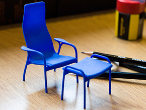 Lamino Style Chair & Stool 1/12 Scale in Blue Strong & Flexible Polished