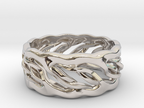 Earth Weave Ring (select a size) in Rhodium Plated Brass