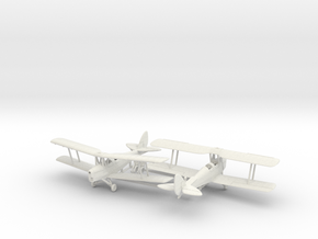 1/144 de Havilland DH82 Tiger Moth x2 in White Natural Versatile Plastic