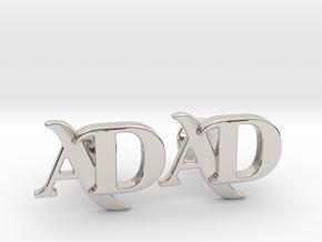 Monogram Cufflinks AD in Rhodium Plated Brass