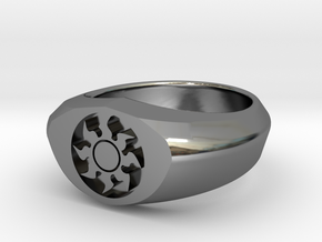MTG Plains Mana Ring (Size 7) in Fine Detail Polished Silver