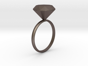 Diamond ring in Polished Bronzed Silver Steel
