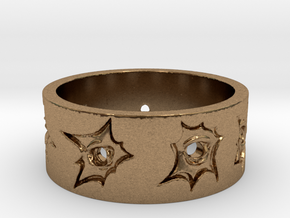 Outlaw Bullet Holes Ring Size 13 in Natural Brass