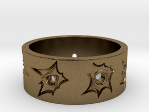 Outlaw Bullet Holes Ring Size 13 in Natural Bronze