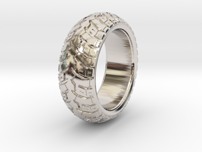 K60 ring - US 6.5 / 16,9 mm inside diameter in Rhodium Plated