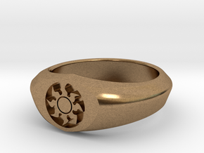 MTG Plains Mana Ring (Size 11) in Natural Brass