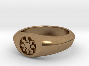 MTG Plains Mana Ring (Size 12) in Natural Brass