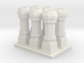 Edwardian Chimneys 1 - 4mm in White Natural Versatile Plastic