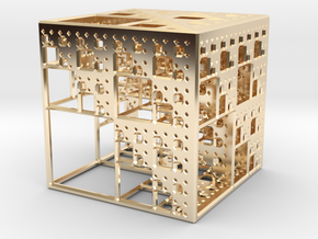 NewMenger Cube in 14k Gold Plated Brass