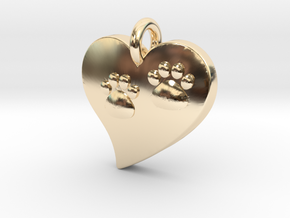 Pet Paw In Heart A in 14K Yellow Gold
