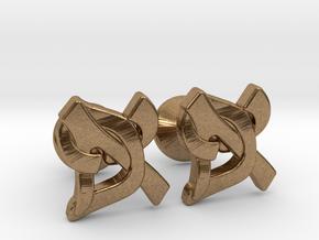 "Hebrew Monogram Cufflinks - ""Aleph Pay"" Small in Natural Brass"