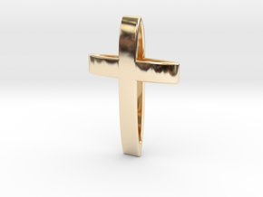CrossOvalBand35-25-5-1 in 14K Yellow Gold