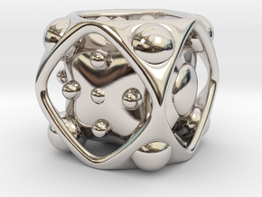 Dice No.2 L (balanced) (3.6cm/1.42in) in Rhodium Plated Brass