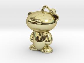 Cute Reddit Alien Snoo Pendant / Charm in 18k Gold Plated Brass