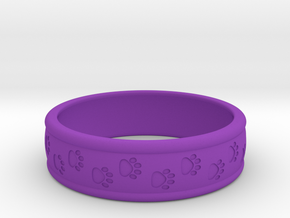 Size 7 Pet Paw Ring Engraved B  in Purple Processed Versatile Plastic