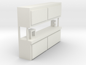 1/64 scale work bench with 1/64 scale vice and 3-D in White Natural Versatile Plastic