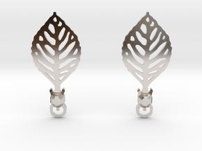 Turtle Leaf Earrings in Platinum