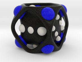 Dice No.2-c Blue L (balanced) (5cm/1.97in) in Full Color Sandstone