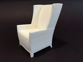 Apsen Wing Back Lounge 1:12 scale in White Natural Versatile Plastic