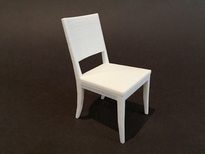 Dining Chair 1:12 scale in White Natural Versatile Plastic