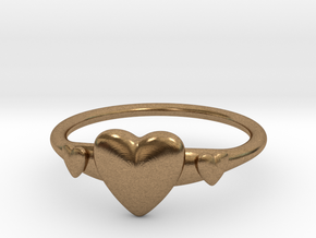 Ring with Hearts, thin backside in Natural Brass