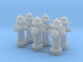1/64 Hydrant Set of 6 in Smooth Fine Detail Plastic