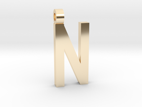 Letter N Necklace in 14K Yellow Gold