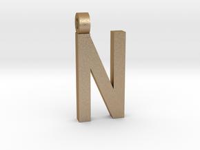 Letter N Necklace in Matte Gold Steel