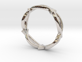 Jesus Fish Eternity Style Ring size 7 in Rhodium Plated Brass