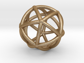 0074 Stereographic Polyhedra - Icosahedron in Matte Gold Steel