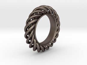 Spiral Ring Size 7 in Polished Bronzed Silver Steel