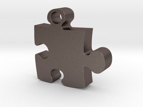 Puzzle piece in Polished Bronzed Silver Steel