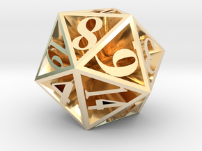 20 Sided Die in 14K Yellow Gold