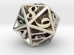 20 Sided Die in Rhodium Plated Brass