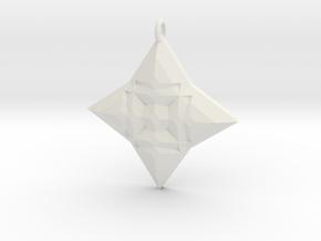 Festive Geo Star Pendant in White Natural Versatile Plastic
