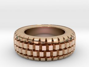 Hard mud tire for 1/24 scale model car in 14k Rose Gold