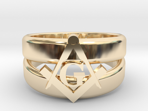 Masonic Ring, Mens size 11.5 in 14k Gold Plated