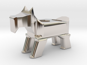 Terrier Pencil Holder in Rhodium Plated Brass