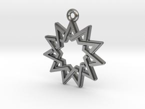 """Hendecagram 4.1"" Pendant, Cast Metal in Natural Silver"