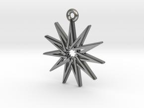 """Hendecagram 5.1"" Pendant, Cast Metal in Raw Silver"