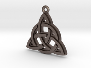 """Trinity Knot"" Pendant, Printed Metal in Polished Bronzed Silver Steel"