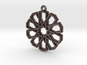 """Ten-Pointed Star"" Pendant, Printed Metal in Polished Bronzed Silver Steel"