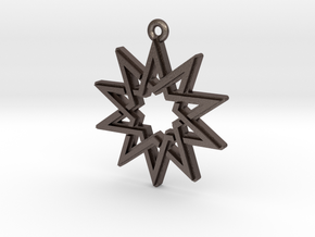 """Decagram 4.1"" Pendant, Printed Metal in Polished Bronzed Silver Steel"