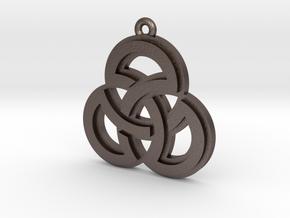 """Sacred Symmetry"" Pendant, Printed Metal in Polished Bronzed Silver Steel"