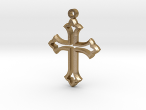 Faceted Cross in Polished Gold Steel