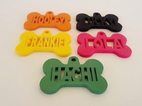 Bone Pet ID Tag - Lucky in Yellow Processed Versatile Plastic