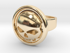 Harley Davidson Round Ring in 14k Gold Plated Brass