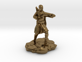 Elf Monk With Bow On Back in Natural Bronze