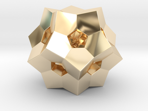 """0077 """"Dodecaplex"""" Polytope 120-Cell #002 (5 cm) in 14k Gold Plated Brass"""